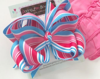 Pink and Blue big sister hairbow -- double stacked hairbow in pink and blue ribbon