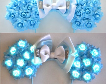 Light-Up Glass Slipper Princess Floral Mouse Ears