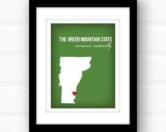 Vermont art | Vermont map | Vermont state art | custom state art | home state print