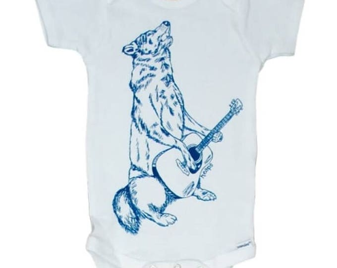 Howling Wolf Baby One Piece - Infant Clothes - Music Baby Clothes - Baby Layette - Creeper - Animal Baby Romper - Guitar Baby Clothes