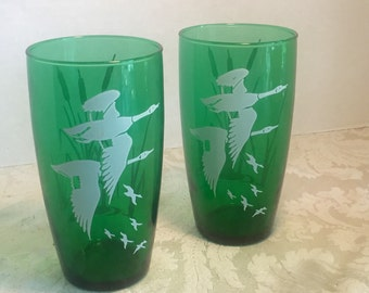 Vintage Hazel Atlas Green Glasses / White Geese Juice Tumblers