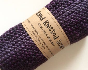 Purple & Grey Marl Handknitted Scarf