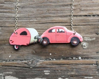 Wanderlust Gifts Necklace Pink or Blue Necklace Retro Beetle Camper Trailer Travel Wanderlust Vintage Inspired Quirky Acrylic Plastic