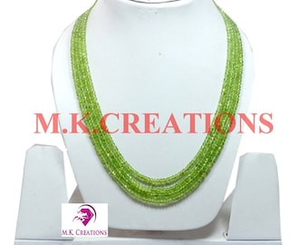 30% Off, Natural Peridot Beads 4 Strand Necklace, Multistrand Necklace, Beaded Layered Necklace, Statement Necklace, Christmas Gift
