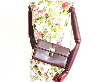 Vintage Lanvin brown clutch with chain