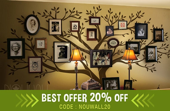 Family Tree Wall Decal Office Wall Decals Photo Frame Tree - Wall decals picture frames