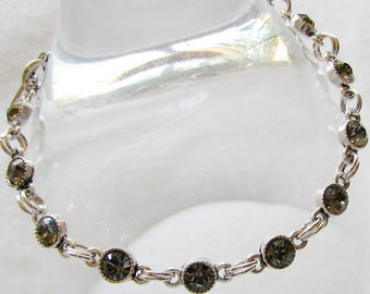 Dark Star bracelet.  black diamond swarovski crystal, silver plate, sterling silver