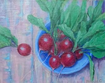 Kitchen decor. Vegetables. Garden. Cottage.Original acrylic painting.Title: Juicy Radish.