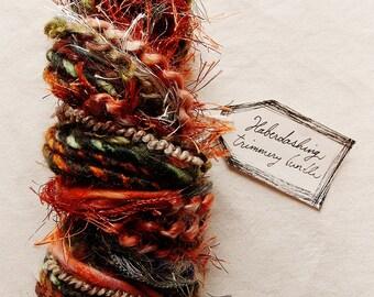 Redwood Forrest dark pine green striped twine copper tinsel fringe Novelty Fiber Yarn Sampler Bundle