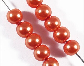 100 pearls 4mm Czech glass Orange