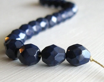 25 Opaque Dark Navy 8mm Faceted Rounds Czech Glass Beads, Fire Polihsed Beads, 8mm Navy Beads, 8mm Opaque Beads, 8mm Faceted Beads
