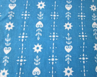 Turquoise and White Country Motifs Cotton Fabric 36 wide
