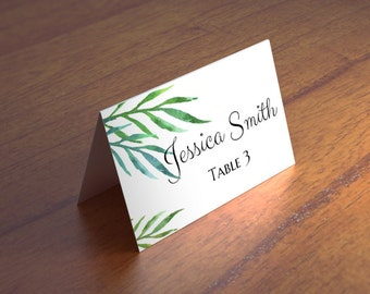 Tropical wedding place cards diy Exotic guest cards template Destination name cards printable Green seating cards Instant download 1W104