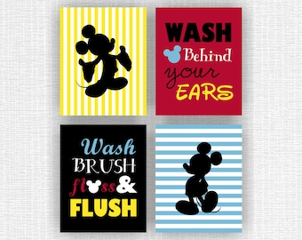 INSTANT DOWNLOAD Mickey Mouse bathroom wall art Set of 4, 8x10, Mickey Mouse decor, Wash brush floss and flush, Wash behind your ears,