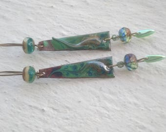 Earrings: Enameled copper and Czech glass beads