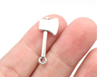 10 Pcs Axe Charms Hardware Charms Antique Silver Tone 3D 25x10mm - YD0354