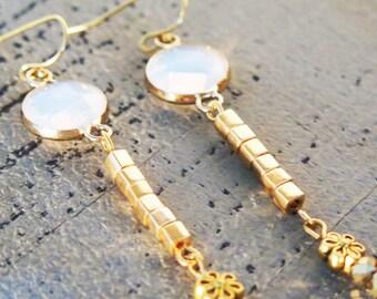 Dangle Earrings,Boho Jewelry,Beads Earrings, Romantic Earrings, Drop Earrings, Bohemian Jewelry, Gold Earrings
