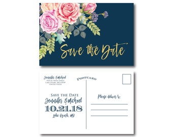 Floral Wedding Save the Date Floral Wedding Watercolor Floral Watercolor Wedding Save the Date Wedding Save the Date Postcards #CL322