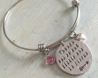 Though she be but little she is fierce bracelet. Shakespeare Quote. Charm bracelet.