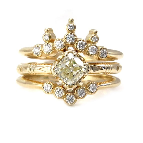 Ready to Ship Size 6-8 - Natural Yellow Diamond Solitaire with Stacking Diamond Wedding Bands - 14k Yellow Gold