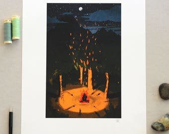 Campfire Poster, A3 Print