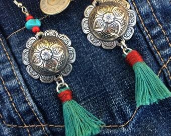 Cowboy Silver Concho Tassel Earrings, Concho Earrings, Tassel Earring, Silver Dome Earrings, Western Earrings, Dome Earrings