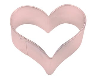 Mini Love Heart Cookie Biscuit Cutter 4.4cm Pink Polyresin Metal Pastry Dough