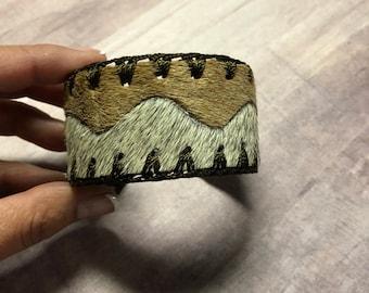 Two color Cowhide Bracelet