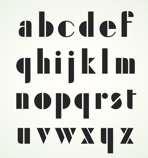 Geometric Retro Alphabet Art Deco Style Lower Case Letters Vector Digital  Download EPS Digital Instant Download