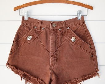 Vintage brown western high waisted shorts