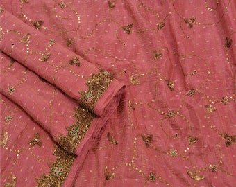 KK Vintage Saree Silk Blend Hand Embroidery Woven Fabric Premium Sari 5 Yard
