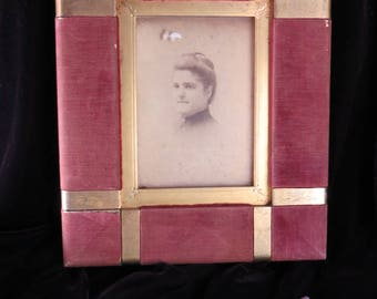 Antique Frame worn Velvet Brass Vintage and Unusual for 6x4 Picture