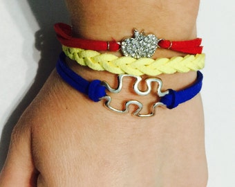 Leather braided bracelet.  Autism Awareness!