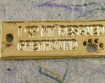 2 Golden I (Heart) Love My Rescued Greyhound Charms with Open Paw Print