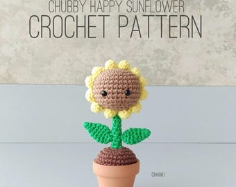 PDF ONLY - Chubby Happy Sunflower PATTERN, amigurumi crochet sunflower pattern, chubby sunflower, sunflower, happy sunflower, smile, happy