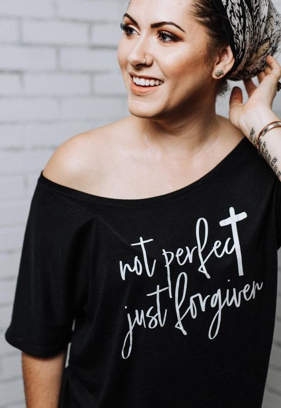 NOT PERFECT, Just Forgiven Tee, Peach or Gray Tee, Forgiven Tshirts, Inspirational Tshirts