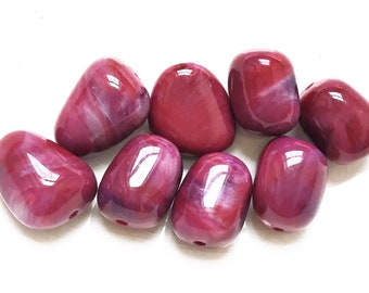 deep red and purple marbled freeform salvaged polished acrylic beads--matching lot of 8
