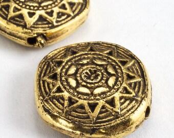 18mm Antique Gold Aztec Sun Disc Bead (2 Pcs) #3180