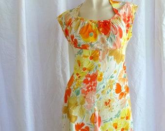 Vintage 1970s Flower Day Dress Big Yellow and Orange Flowers Modest Soft Pleated Neckline Medium