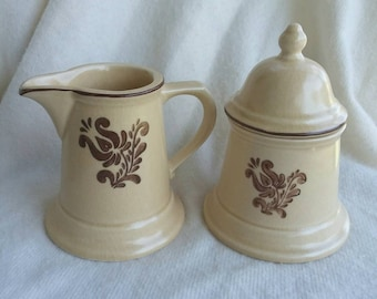 Pfalzgraff yellow and Brown creamer and sugar bowl FREE SHIPPING