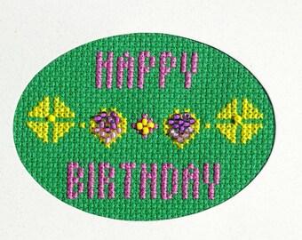 Cross Stitch Card, Birthday Card, Handmade Card, Happy Birthday, Original Design,
