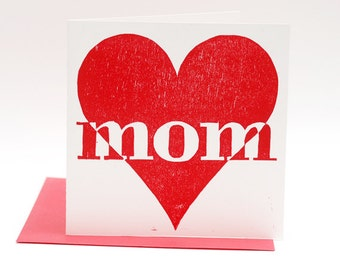 Letterpress Mothers Day card, Moederdag, Love You Mom, hand printed woodcut