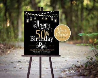 Birthday Welcome Sign Printable | with Garland Lights and Lanterns | 40th 50th 60th or Any Age | Personalized | DIGITAL PRINTABLE FILES