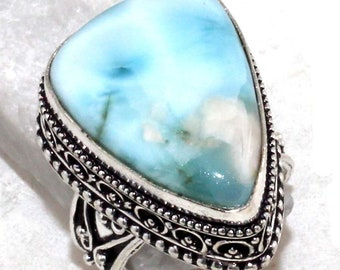 Natural AAA Larimar Vintage Style Handmade 925 Silver plated Ring A 110