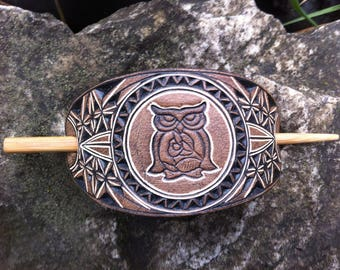 Owl hand carved and tooled leather hair barrette