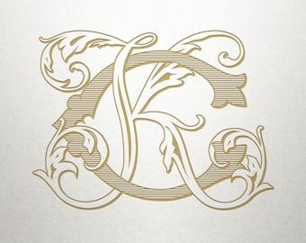 Digital Wedding Monogram - CK KC - Wedding Monogram - Interlocking