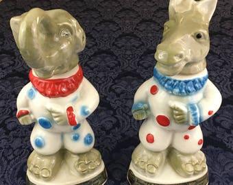2 Vintage 1968 Jim Beam Elephant Republican Donkey Democrat Political Decanters