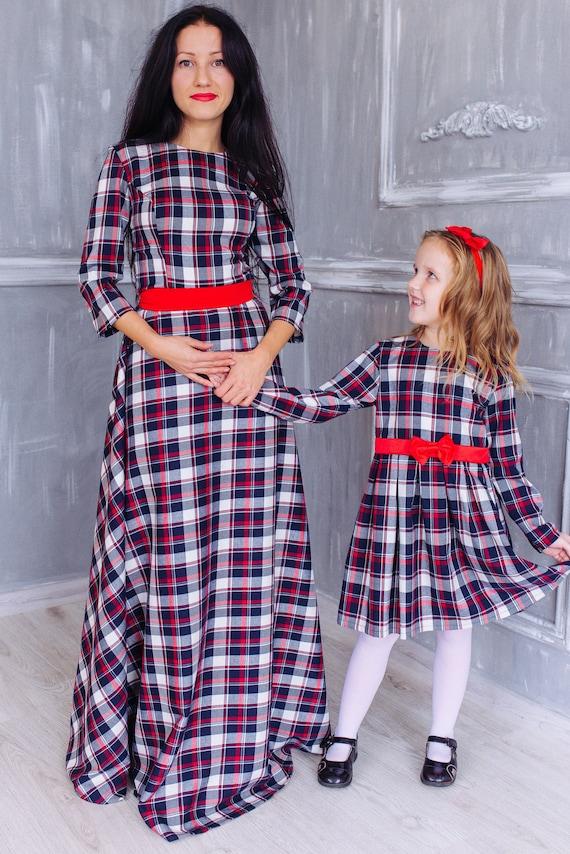 Mother daughter matching plaid maxi dresses Tartan Christmas