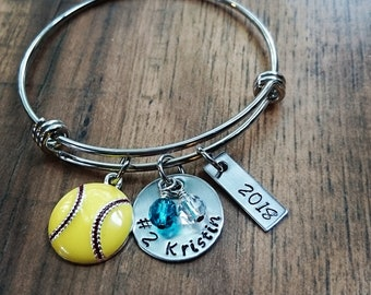 Hand Stamped Softball Wire Bangle Bracelet - Softball team gift - Softball Gifts - Softball Senior Gift - Softball Night Gifts