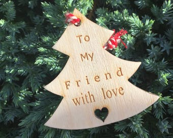 Friend Gift Tag, Wooden Gift Tag, Christmas 2017, Rustic Christmas Tag, Traditional Christmas Tag, Christmas Wrapping, Festive Gift Tag
